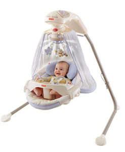 purple baby swing with canopy