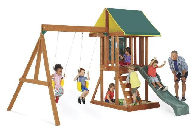 wooden swing set with playhouse