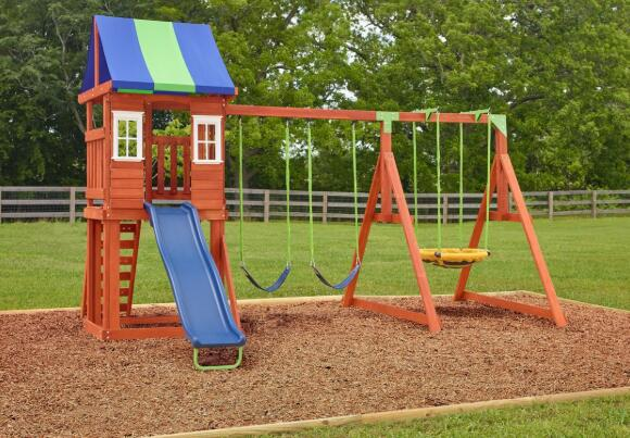 childrens wooden swings and slides