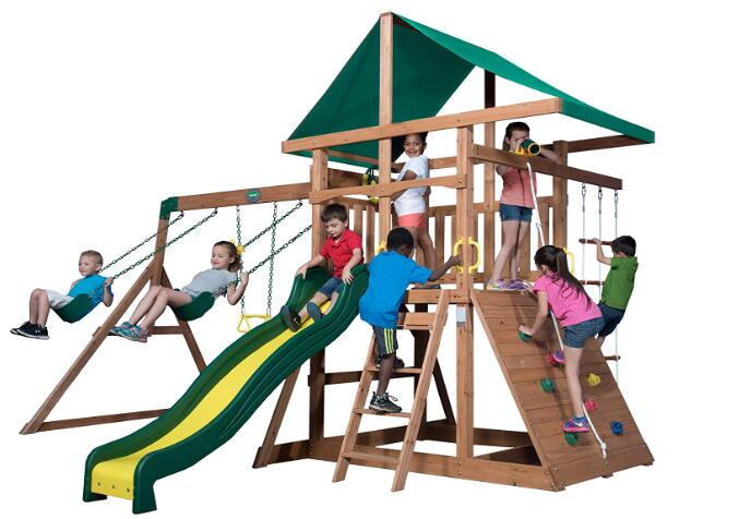 childrens wooden swing and slide sets