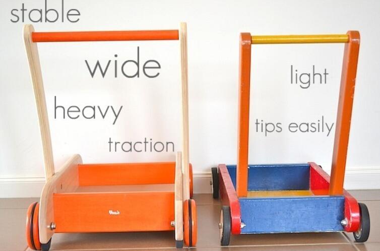 wooden baby walker with blocks