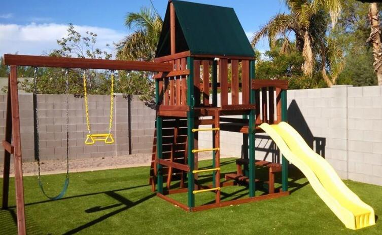 childrens wooden swing set