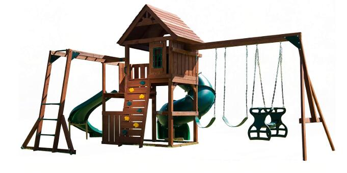 wooden backyard swing