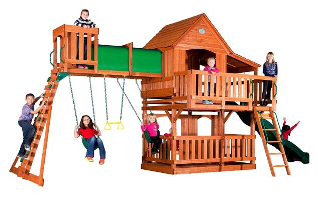 wooden swing and slide set