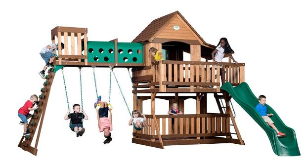 best prices on wooden swing sets