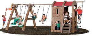 outdoor wooden swing set