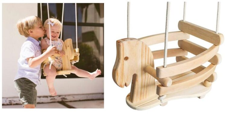 wooden toddler swing